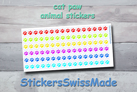 CAT PAW - animal stickers - rainbow colored icons