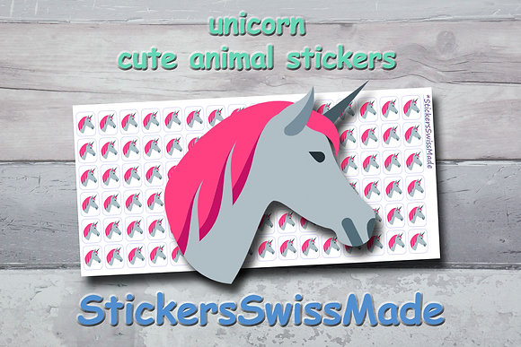 UNICORN - cute stickers - multicolored icons