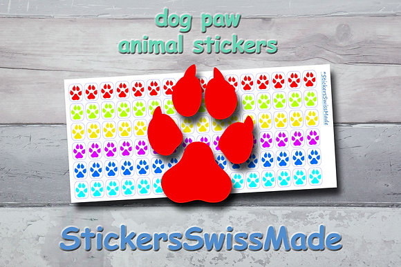 DOG PAW - animal stickers - rainbow colored icons