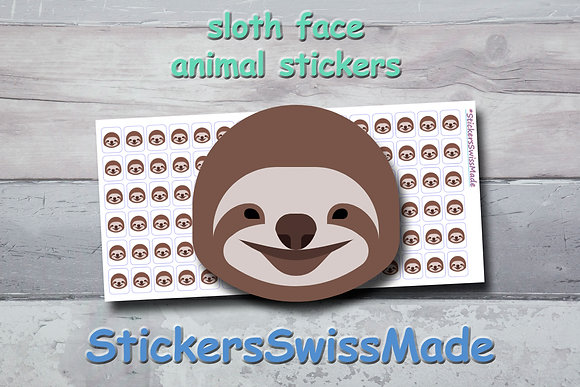 SLOTH FACE - animal stickers - multicolored icons