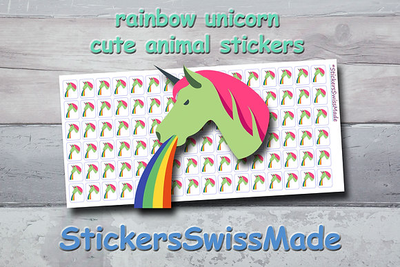 UNICORN RAINBOW - cute stickers - multicolored icons