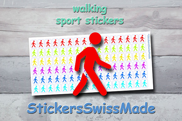 WALKER - sport stickers - rainbow colored icons