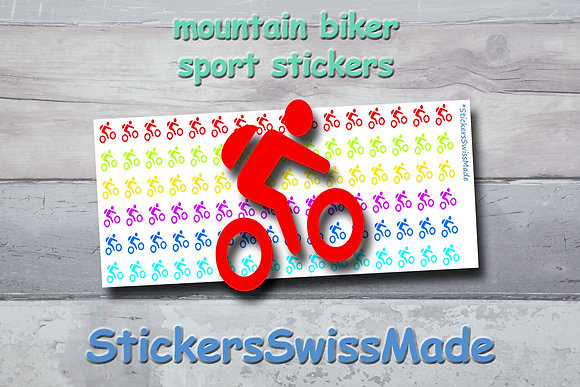 MOUNTAIN BIKER - sport stickers - rainbow colored icons