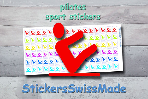 PILATES - sport stickers - rainbow colored icons
