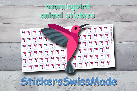 HUMMINGBIRD- animal stickers - multicolored icons