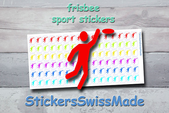 FRISBEE - sport stickers - rainbow colored icons