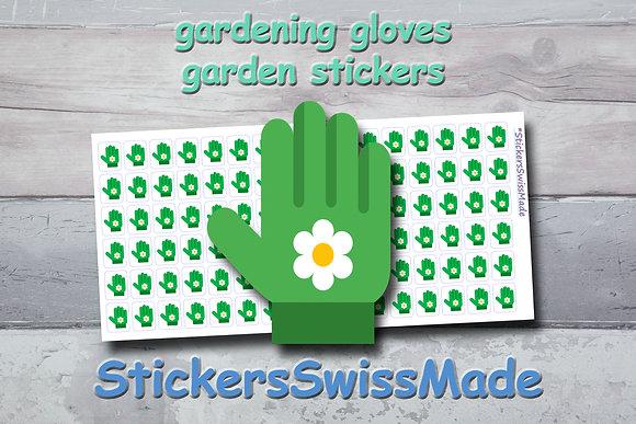 GARDEN GLOVES - garden stickers - multicolored icons