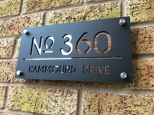 Contemporary  House Sign 30x15cm With Stainless Steel Mounts