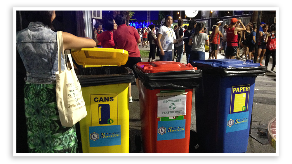 Recycling bins placed prominently at Sundown Marathon 2017.