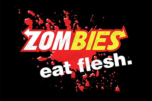 Subway inspired zombies eat flesh blood spatter sticker