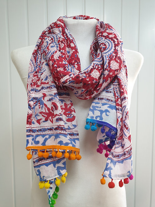 Red Wooden Block Printed Cotton Scarf / Wrap (WIN) (SUM)