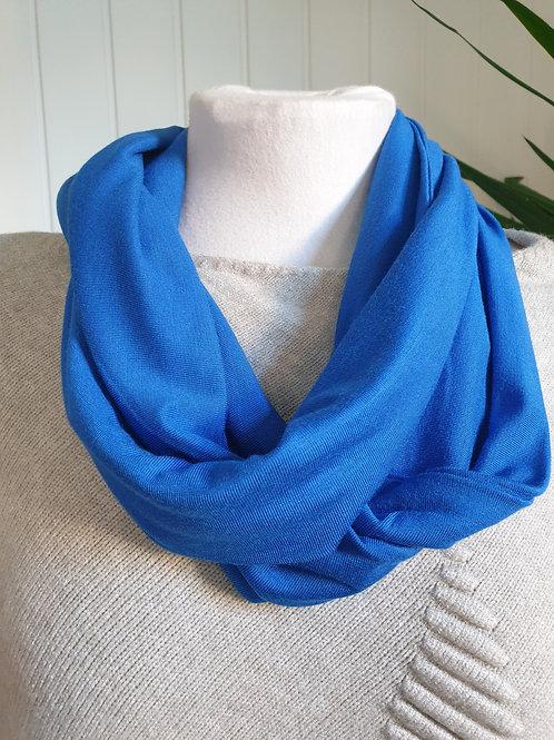 Handmade Infinity Jersey Scarf in Cobalt Blue (SPR, WIN)