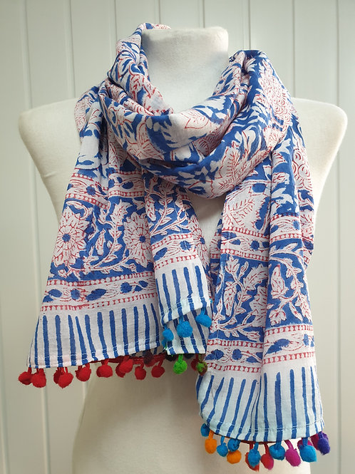 Blue & Red Wooden Block Printed Cotton Scarf / Wrap (SPR) (SUM)