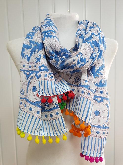Blue Wooden Block Printed Cotton Scarf / Wrap (Sum) (SPR)