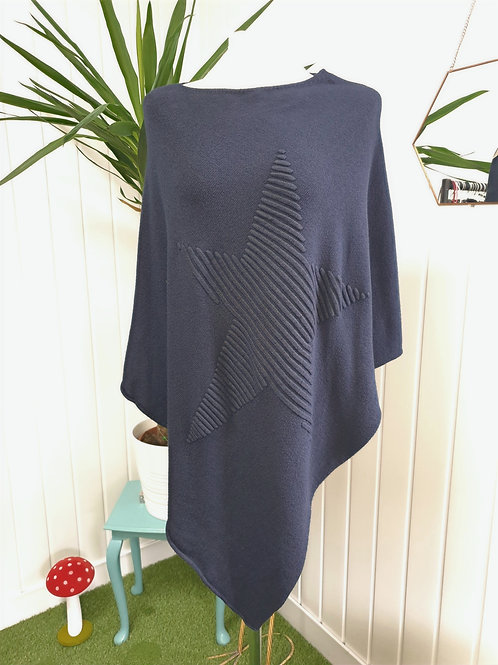 Navy Knitted Soft Poncho (SUM, AUT, WIN, SPR)