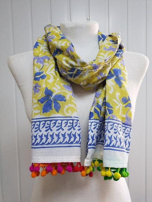 Yellow & Blue Wooden Block Printed Cotton Scarf / Wrap (SPR) (AUT)