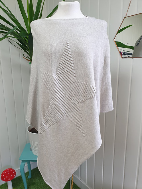 Cream Knitted Soft Poncho (SPR, AUT)