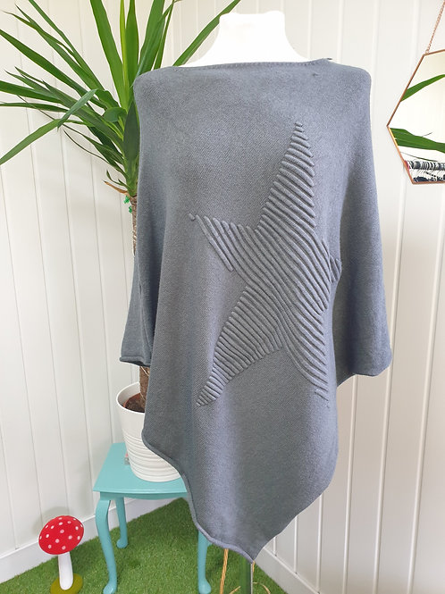 Concrete Grey Knitted Soft Poncho (AUT, WIN)