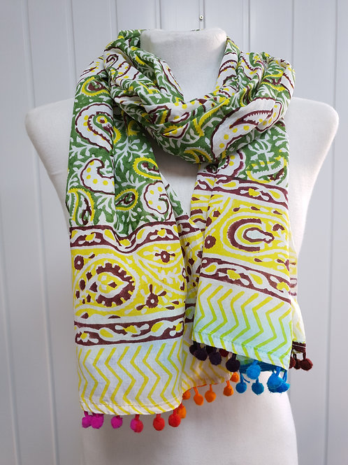 Green Wooden Block Printed Cotton Scarf / Wrap (AUT) (SPR)