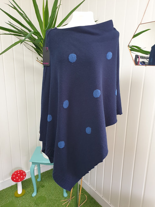 Navy Spot Knitted Soft Poncho (AUT, SPR, AUT, WIN)