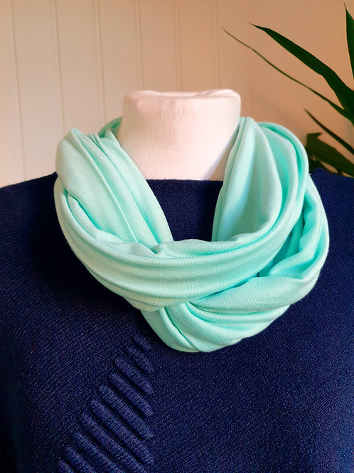 Handmade Infinity Jersey Scarf in Light Aqua (SUM, SPR)