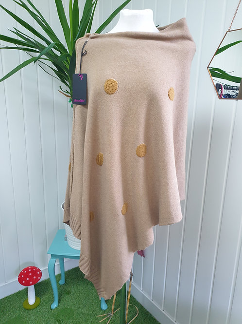 Sandy Spot Knitted Soft Poncho (AUT, SPR)