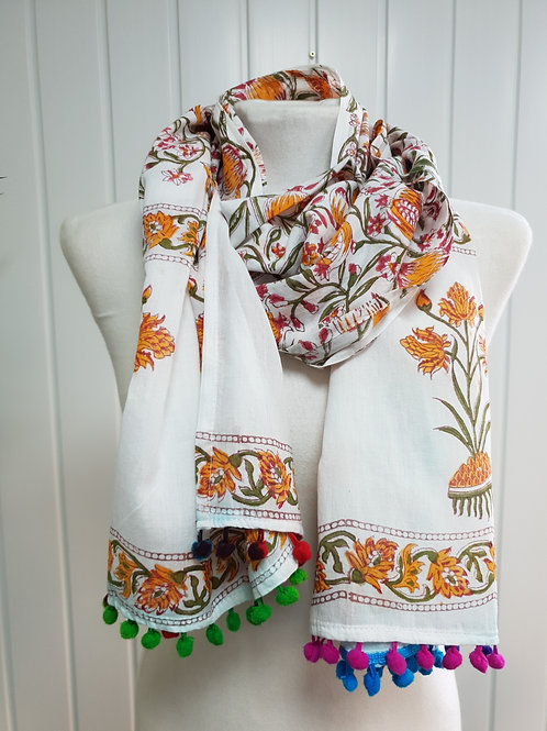 Autumn Wooden Block Printed Cotton Scarf / Wrap (AUT)