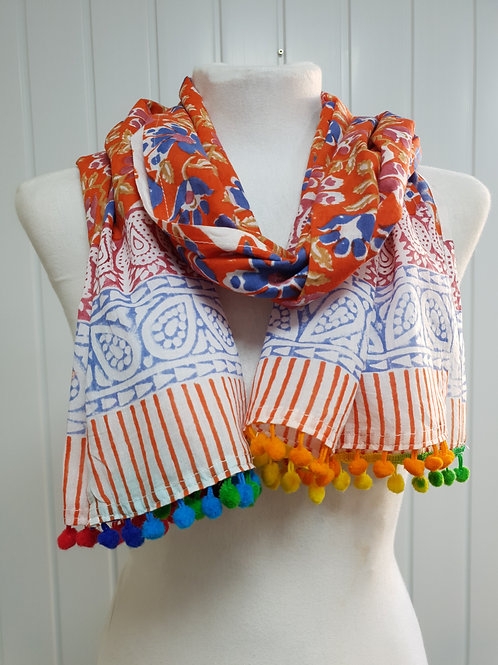 Bright Orange Wooden Block Printed Cotton Scarf / Wrap (SPR) (AUT) (SPR)