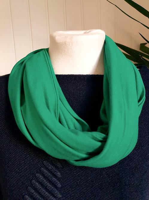 Handmade Infinity Jersey Scarf in Soft Emerald (SUM, WIN)