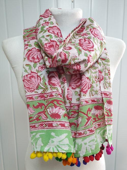 Pink Wooden Block Printed Cotton Scarf / Wrap (Sum)