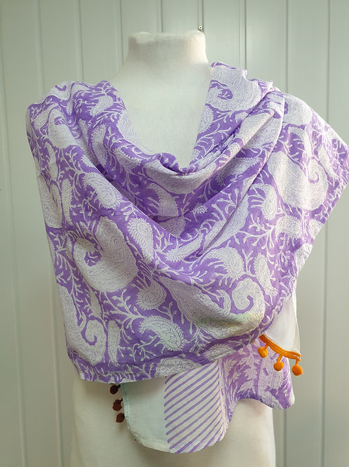 Violet Wooden Block Printed Cotton Scarf / Wrap (WIN)