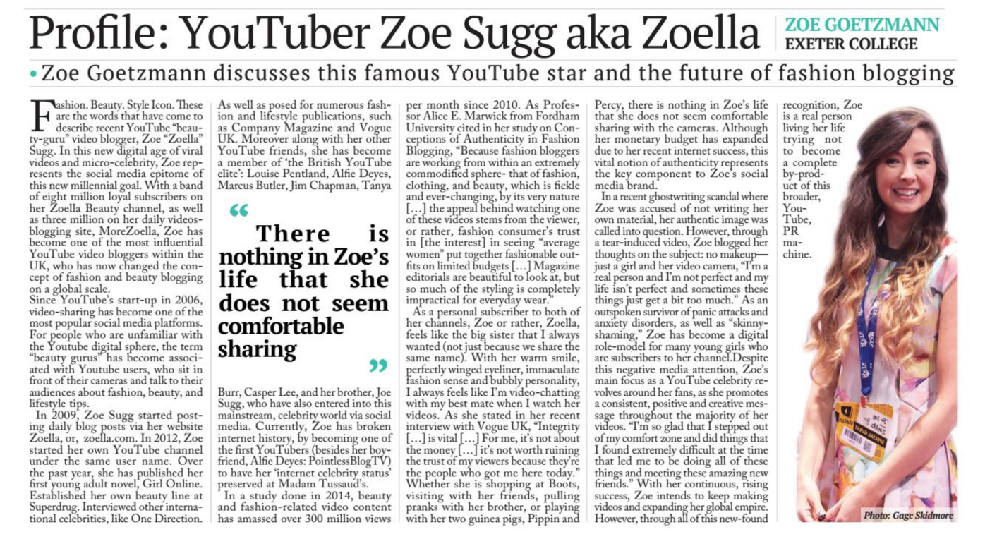 Profile on YouTuber Zoe Sugg