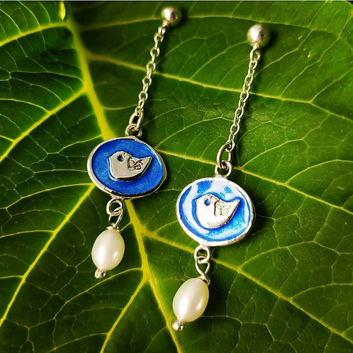 'Sunflowers and Songbirds' earrings in sterling silver with glass enamel