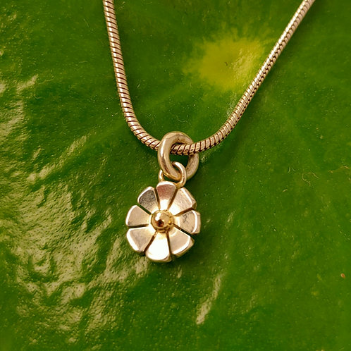 Simple daisy pendant with gold, rose gold or silver ball centre