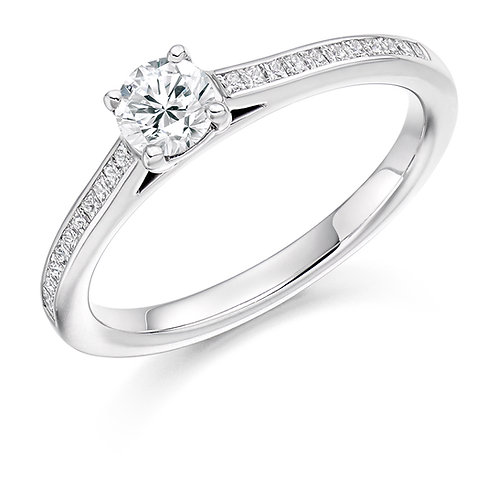 0.58ct 4 Claw Solitaire Diamond Ring with Diamond set Shoulders
