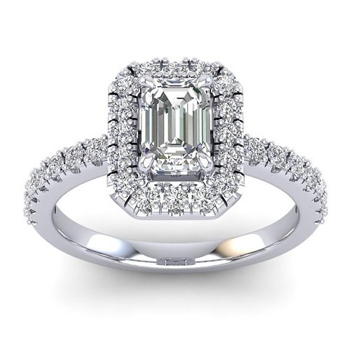 1.15ct Emerald Cut Diamond Halo Engagement Ring With Diamond Set Shoulders
