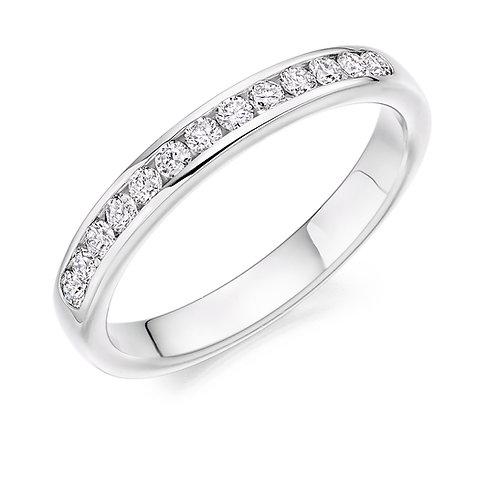 0.33ct Channel Set Round Diamond Half Eternity Ring
