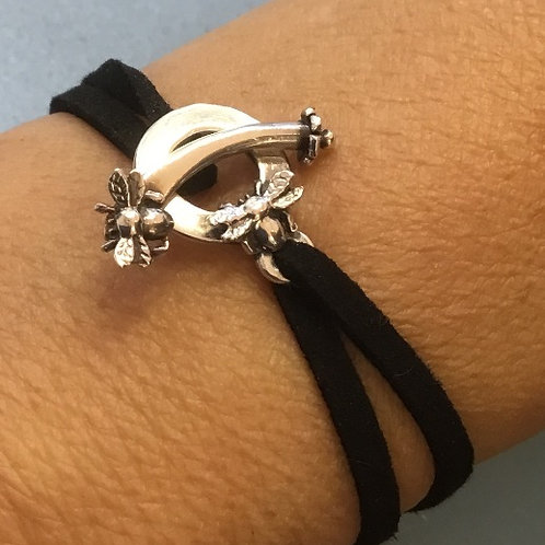Home is where the hive is faux suede sterling silver t-bar bracelet
