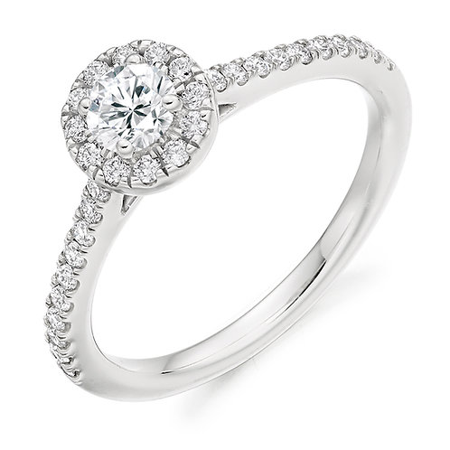 0.55ct Round Diamond Halo Engagement Ring With Diamond Set Shoulders