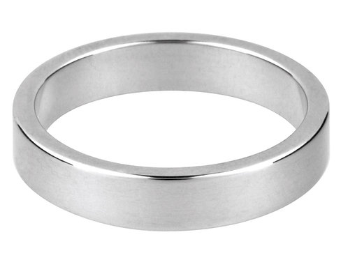 4mm Men's Sterling Flat Silver Wedding Band