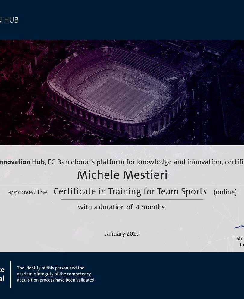 Certificate in Training for Team Sport.j