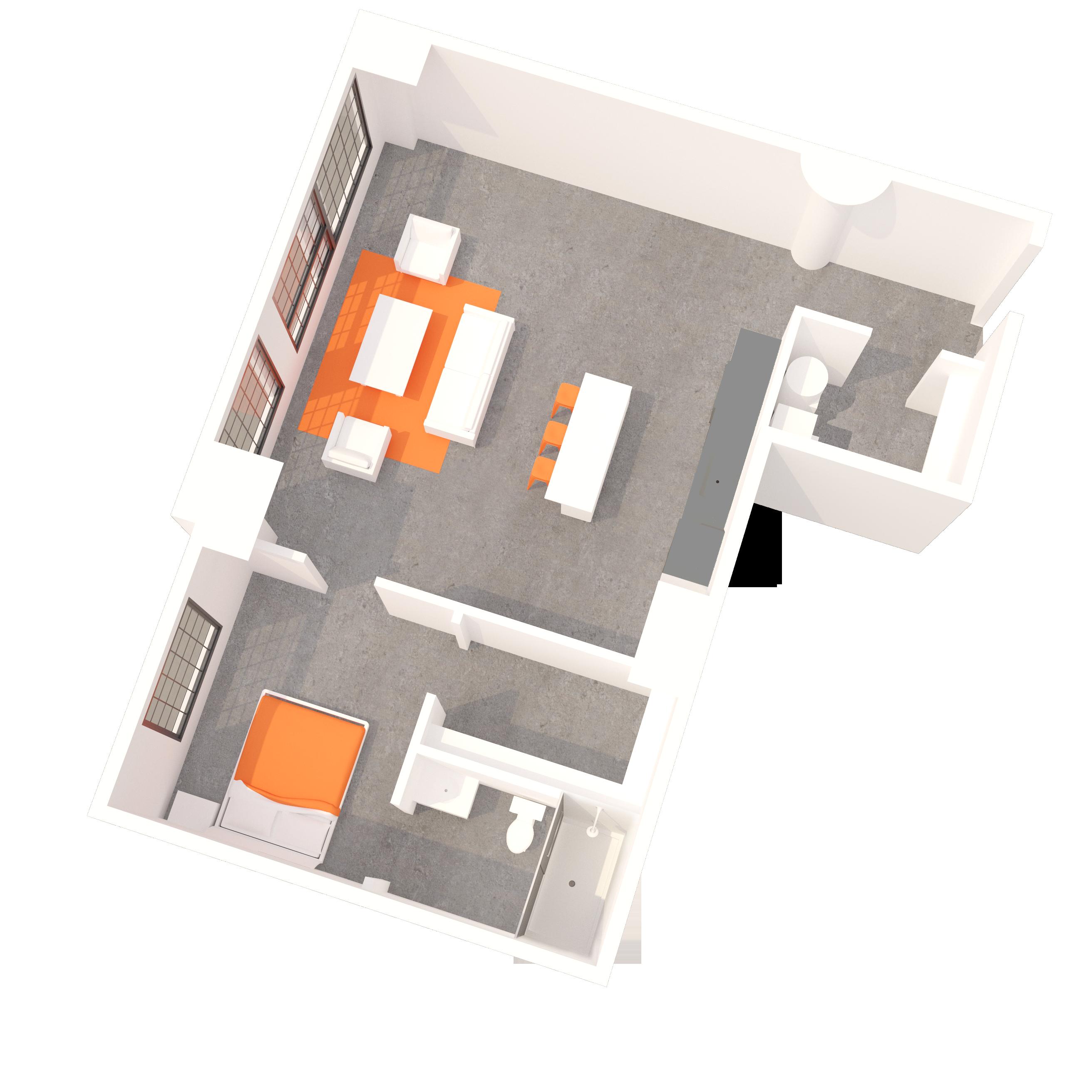1 BR Floorplan B