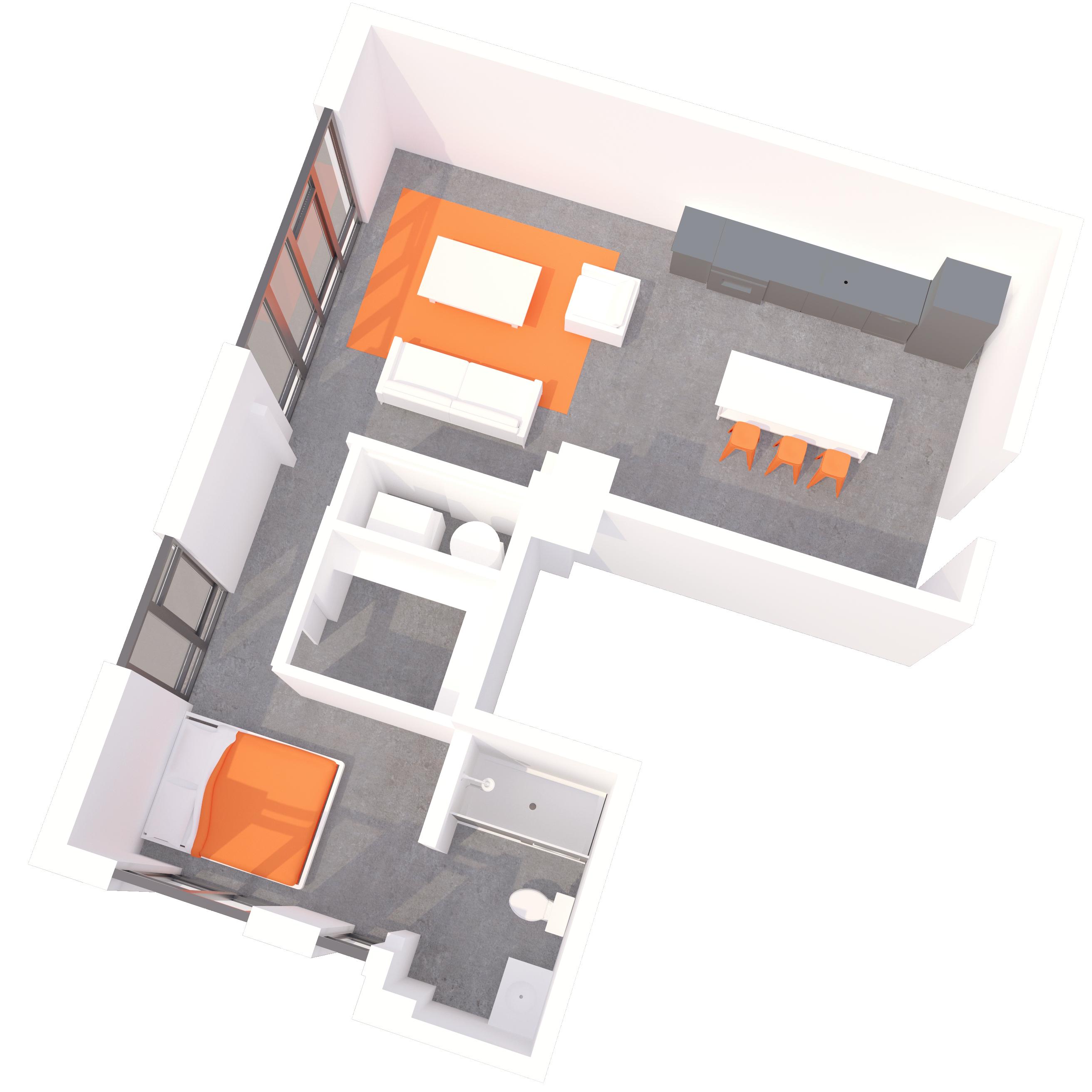 1 BR Floorplan C