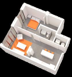1 BR Floorplan E