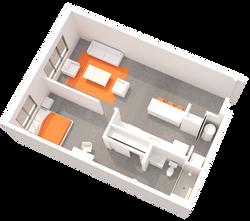 1 BR Floorplan D