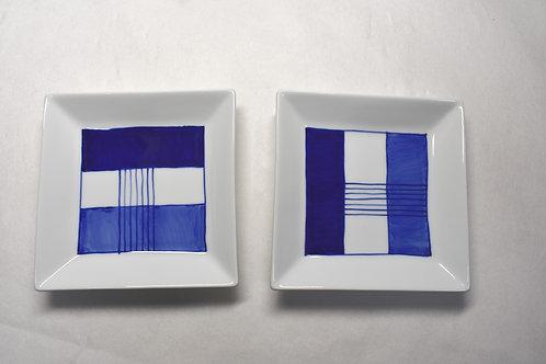 染付新ブルー額縁正角12㎝皿 2枚セット