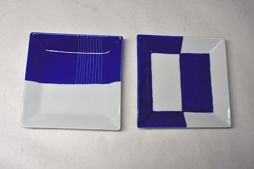 染付新ブルー 額縁正角12㎝皿 2枚セット