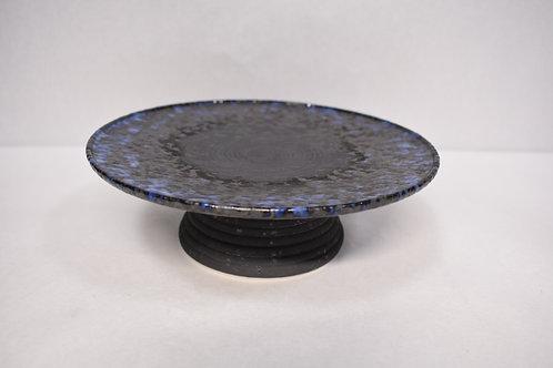 焼〆ルリ吹 線彫高台皿
