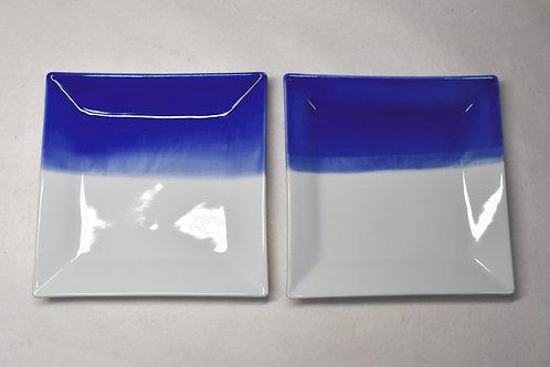 新ブルー額縁正角16.5㎝皿 2枚セット