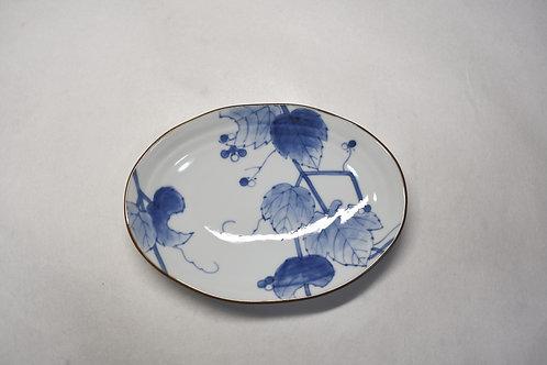 野ぶどう ひねり千段楕円小皿